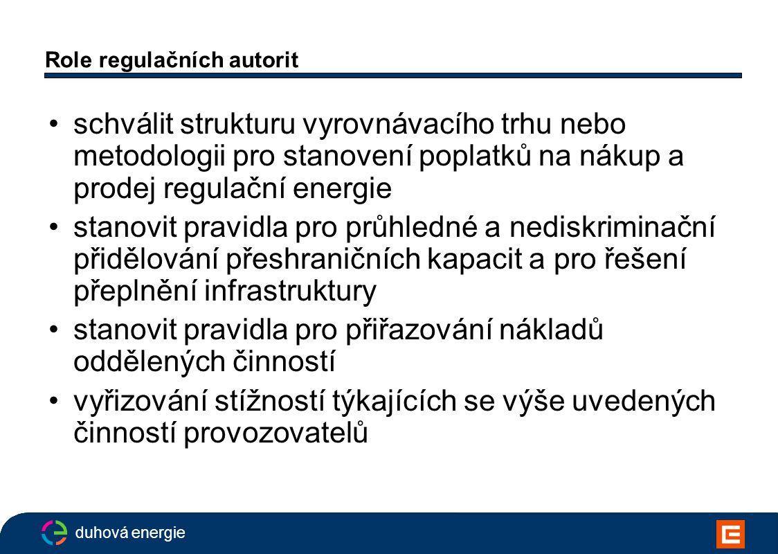 duhová energie Role regulačních autorit schválit strukturu vyrovnávacího trhu nebo metodologii pro stanovení poplatků na nákup a prodej regulační energie stanovit pravidla pro průhledné a nediskriminační přidělování přeshraničních kapacit a pro řešení přeplnění infrastruktury stanovit pravidla pro přiřazování nákladů oddělených činností vyřizování stížností týkajících se výše uvedených činností provozovatelů
