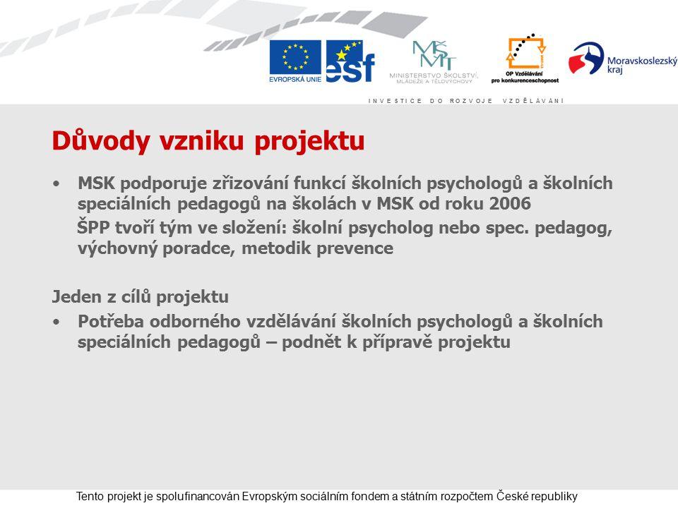 I N V E S T I C E D O R O Z V O J E V Z D Ě L Á V Á N Í Tento projekt je spolufinancován Evropským sociálním fondem a státním rozpočtem České republiky Příprava projektu Integrace 2 Příprava v průběhu školního roku 2007/08 Spolupráce partnerů, zástupců škol, psychologů a spec.