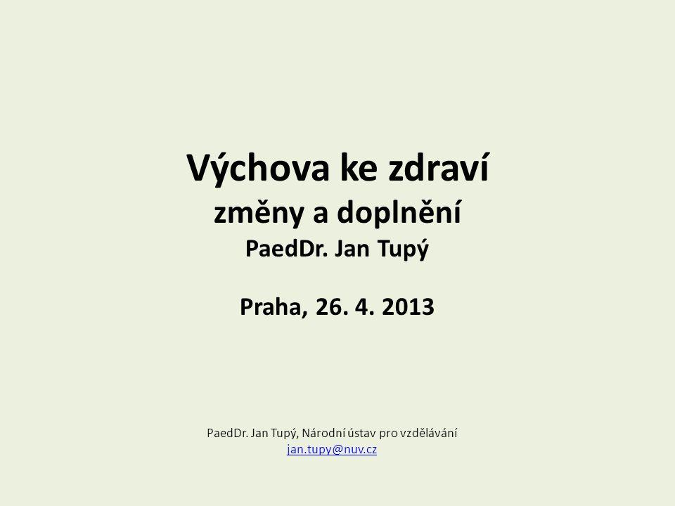 Výchova ke zdraví změny a doplnění PaedDr.Jan Tupý Praha, 26.