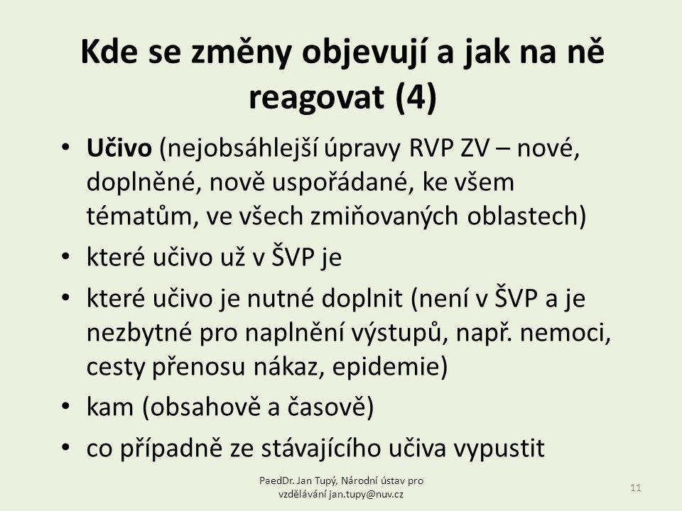 Kde se změny objevují a jak na ně reagovat (4) 11 Učivo (nejobsáhlejší úpravy RVP ZV – nové, doplněné, nově uspořádané, ke všem tématům, ve všech zmiňovaných oblastech) které učivo už v ŠVP je které učivo je nutné doplnit (není v ŠVP a je nezbytné pro naplnění výstupů, např.
