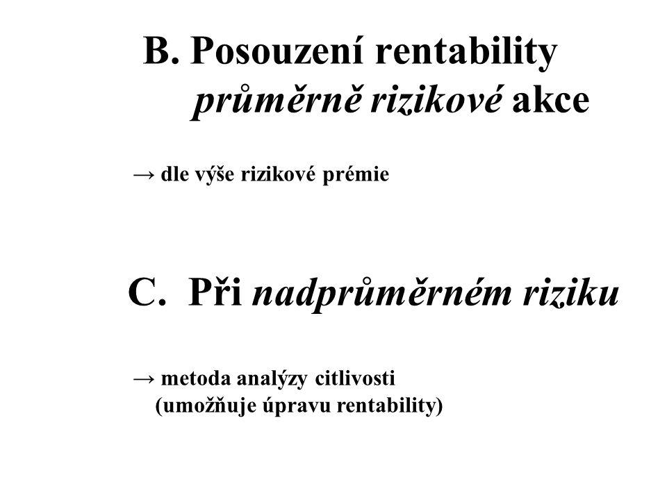 B. Posouzení rentability průměrně rizikové akce → dle výše rizikové prémie C. Při nadprůměrném riziku → metoda analýzy citlivosti (umožňuje úpravu ren
