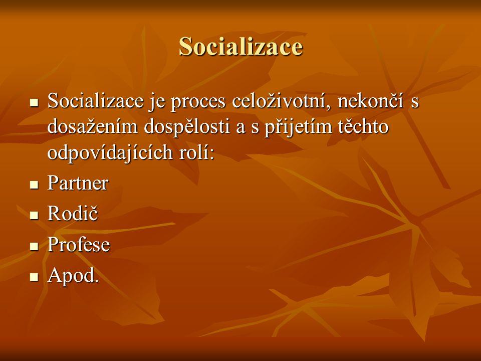 Socializace Socializace je proces celoživotní, nekončí s dosažením dospělosti a s přijetím těchto odpovídajících rolí: Socializace je proces celoživotní, nekončí s dosažením dospělosti a s přijetím těchto odpovídajících rolí: Partner Partner Rodič Rodič Profese Profese Apod.