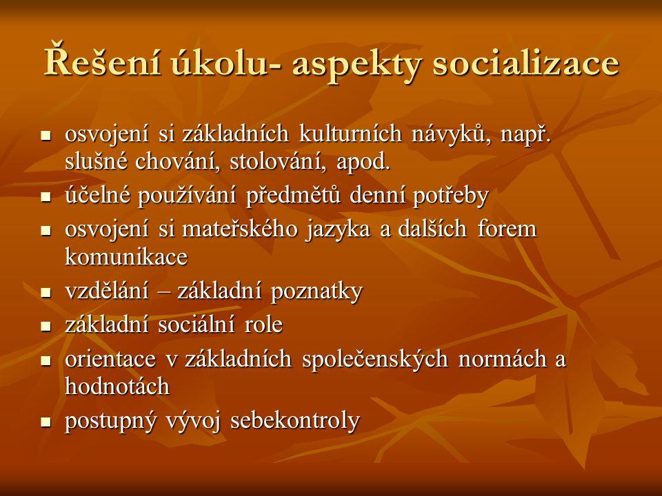 Řešení úkolu- aspekty socializace osvojení si základních kulturních návyků, např.