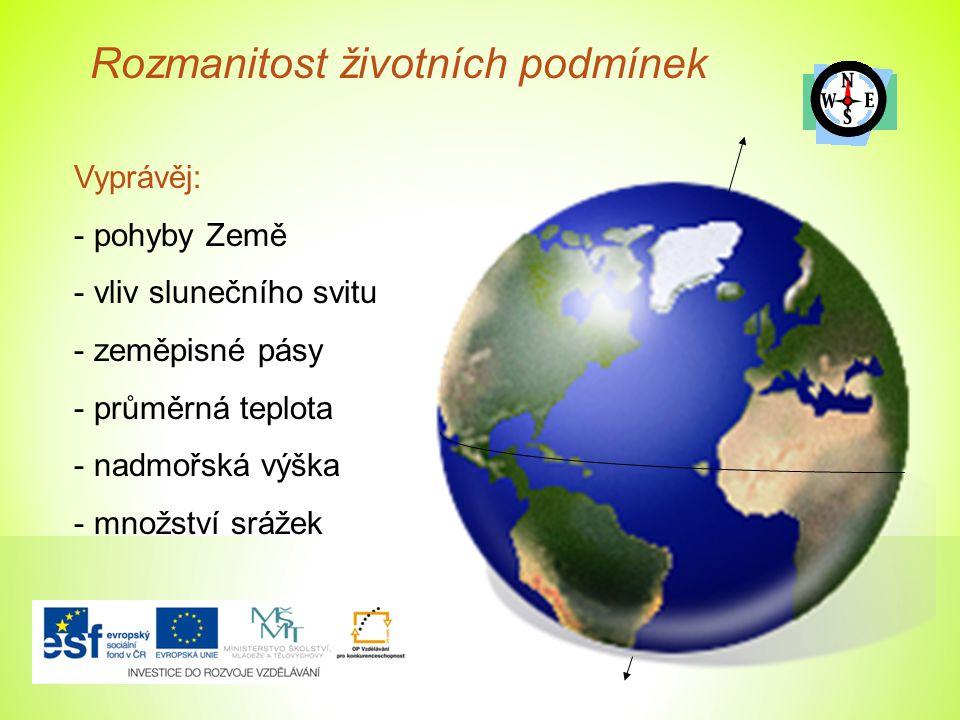 Rozmanitost životních podmínek Vyprávěj: - pohyby Země - vliv slunečního svitu - zeměpisné pásy - průměrná teplota - nadmořská výška - množství srážek