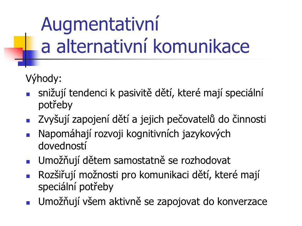 Augmentativní a alternativní komunikace Dělení: Dynamické (prstové abecedy, znakové systémy, makaton, tadoma, cuee speech) Statické (systém Bliss, pik