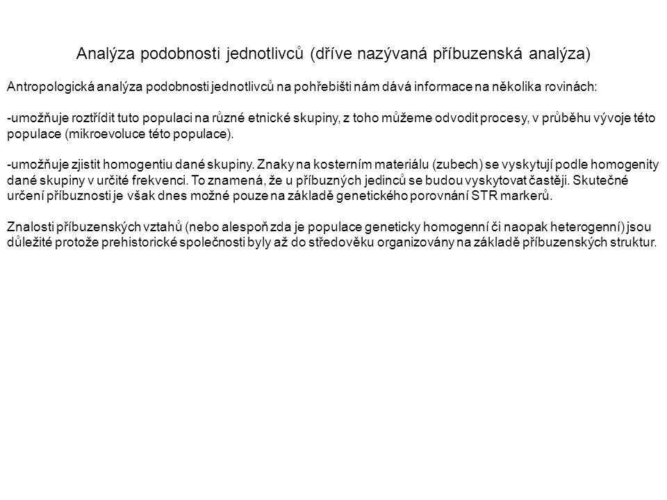 Analýza podobnosti jednotlivců (dříve nazývaná příbuzenská analýza) Antropologická analýza podobnosti jednotlivců na pohřebišti nám dává informace na