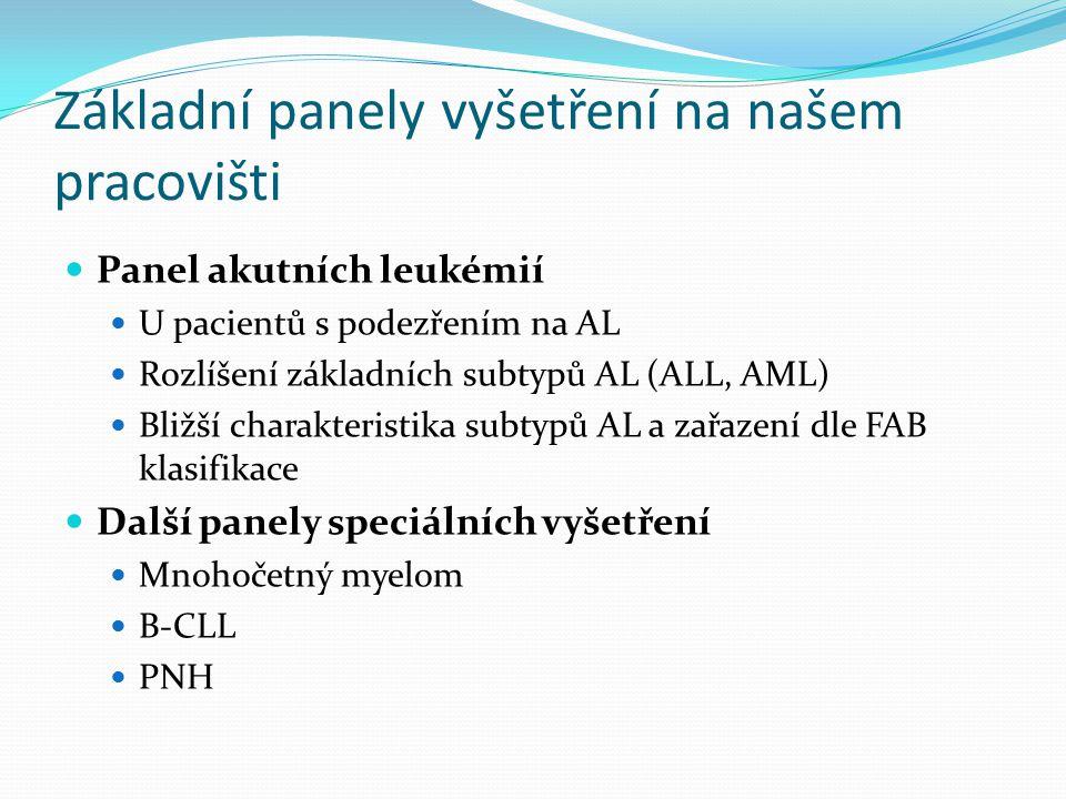 Základní panely vyšetření na našem pracovišti Panel akutních leukémií U pacientů s podezřením na AL Rozlíšení základních subtypů AL (ALL, AML) Bližší charakteristika subtypů AL a zařazení dle FAB klasifikace Další panely speciálních vyšetření Mnohočetný myelom B-CLL PNH