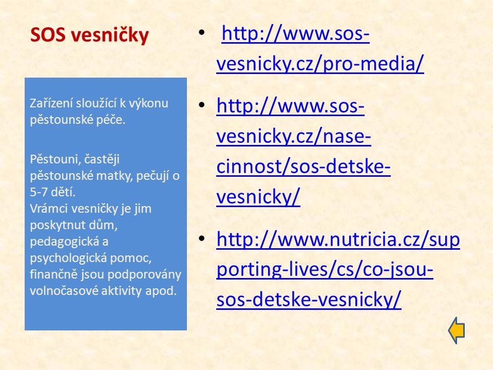 SOS vesničky http://www.sos- vesnicky.cz/pro-media/http://www.sos- vesnicky.cz/pro-media/ http://www.sos- vesnicky.cz/nase- cinnost/sos-detske- vesnicky/ http://www.sos- vesnicky.cz/nase- cinnost/sos-detske- vesnicky/ http://www.nutricia.cz/sup porting-lives/cs/co-jsou- sos-detske-vesnicky/ http://www.nutricia.cz/sup porting-lives/cs/co-jsou- sos-detske-vesnicky/ Zařízení sloužící k výkonu pěstounské péče.