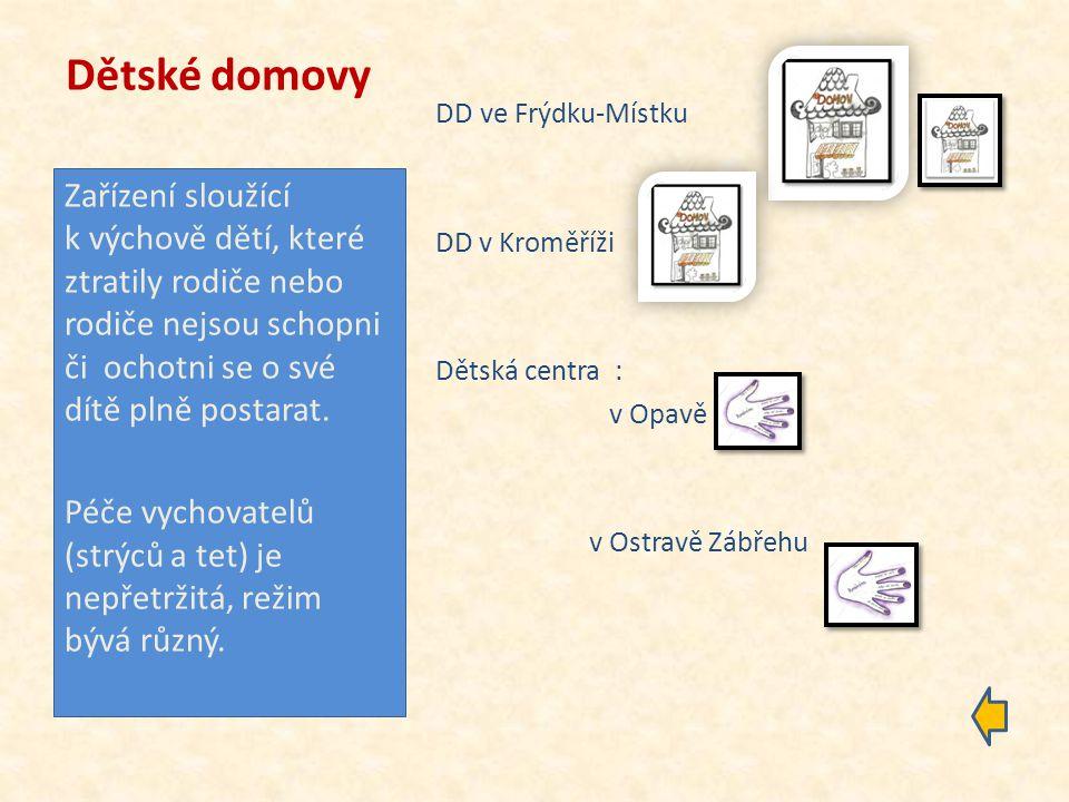 Diagnostické ústavy Diagnostický ústav ve Slaném v Bohumíně v Olomouci Občanské sdružení Ginko Zařízení poskytující péči dětem s nařízenou ústavní výchovou s uloženou ochrannou výchovou s nařízeným předběžným opatřením a dětem, jež nejsou občany ČR