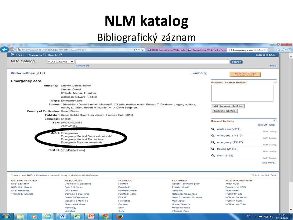 NLM katalog Bibliografický záznam