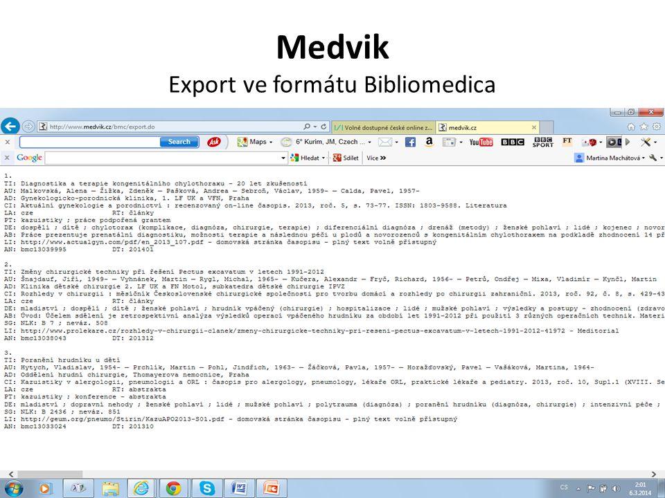 Medvik Export ve formátu Bibliomedica