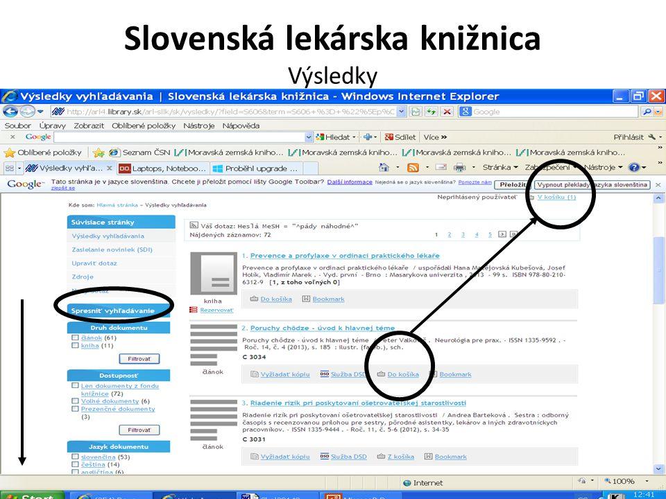 Slovenská lekárska knižnica Výsledky