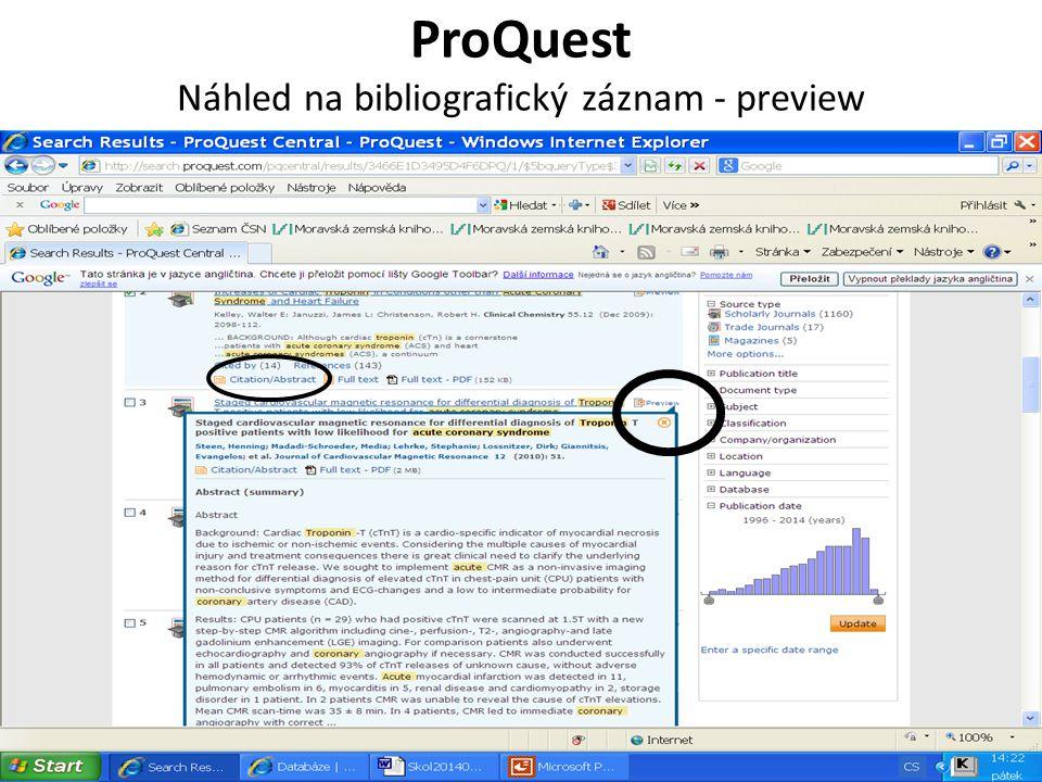 ProQuest Náhled na bibliografický záznam - preview