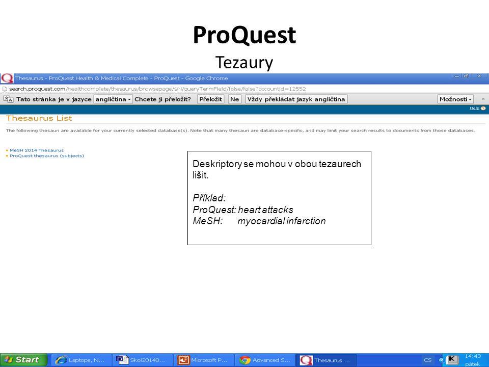 ProQuest Tezaury Deskriptory se mohou v obou tezaurech lišit.