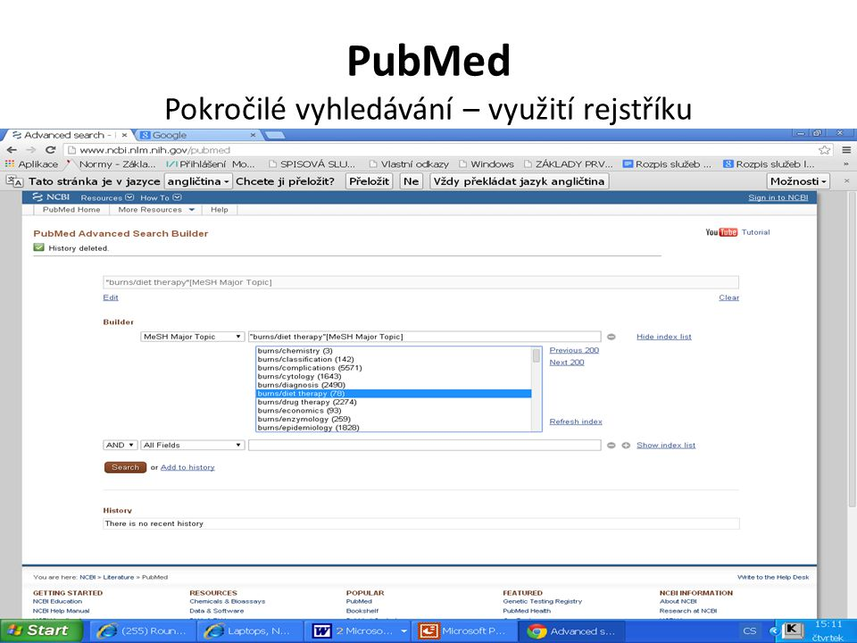 PubMed Pokročilé vyhledávání – využití rejstříku