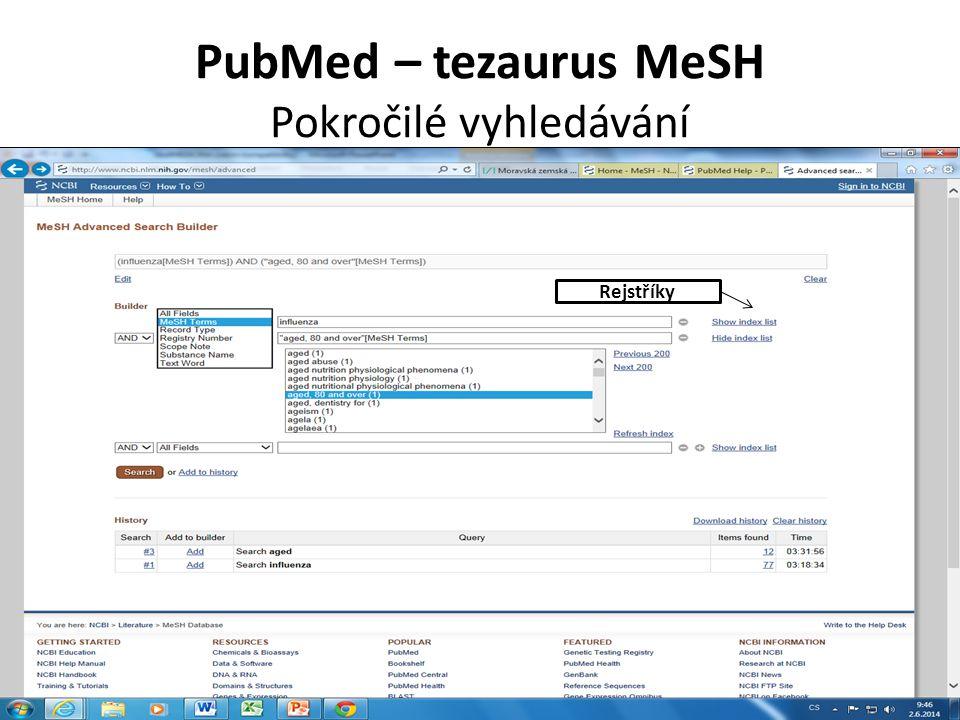 PubMed – tezaurus MeSH Pokročilé vyhledávání Rejstříky