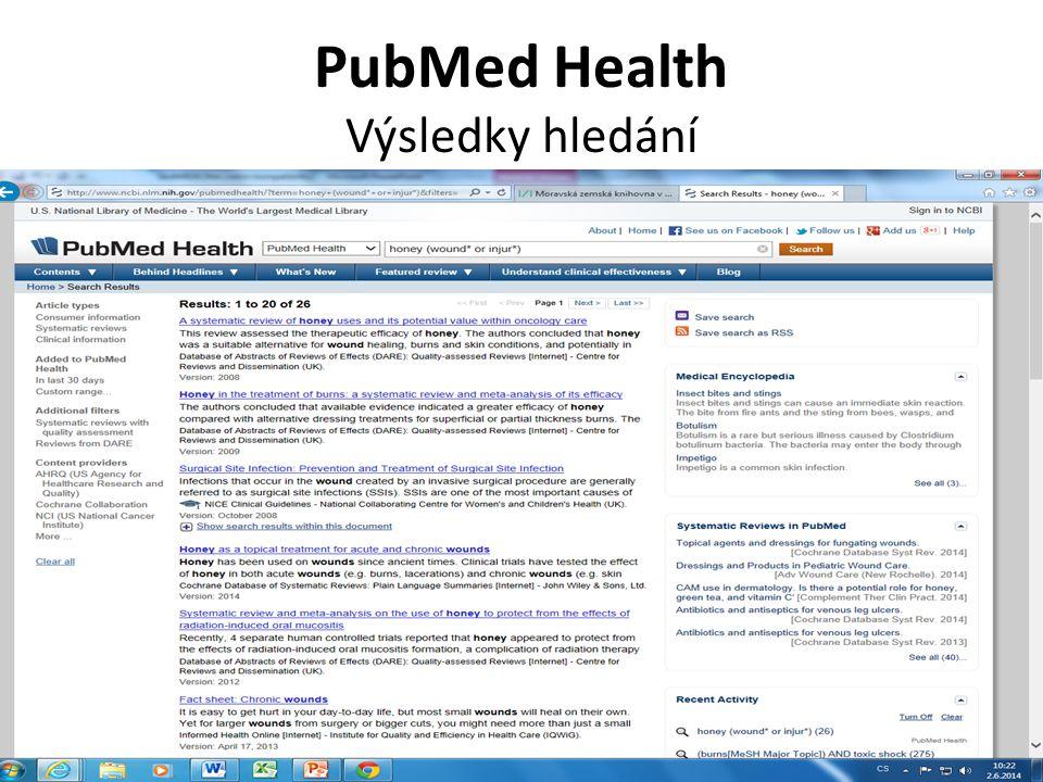 PubMed Health Výsledky hledání