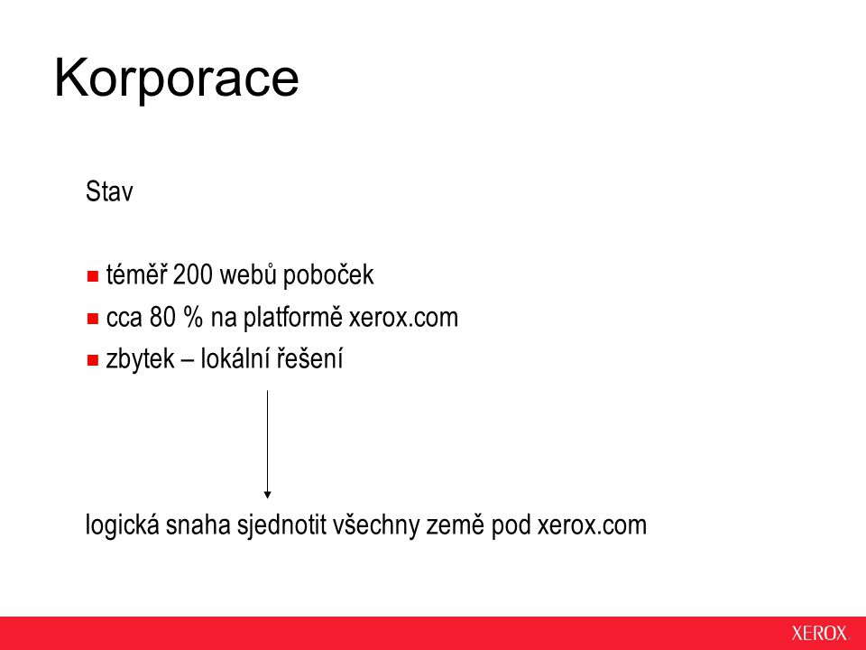 Korporace Stav téměř 200 webů poboček cca 80 % na platformě xerox.com zbytek – lokální řešení logická snaha sjednotit všechny země pod xerox.com