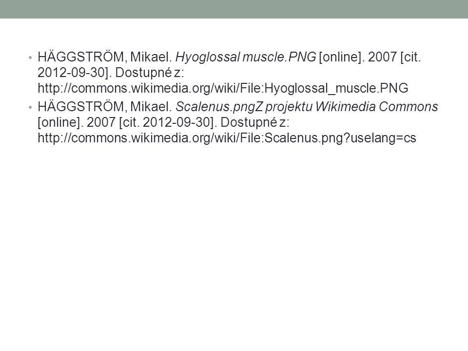 HÄGGSTRÖM, Mikael. Hyoglossal muscle.PNG [online]. 2007 [cit. 2012-09-30]. Dostupné z: http://commons.wikimedia.org/wiki/File:Hyoglossal_muscle.PNG HÄ