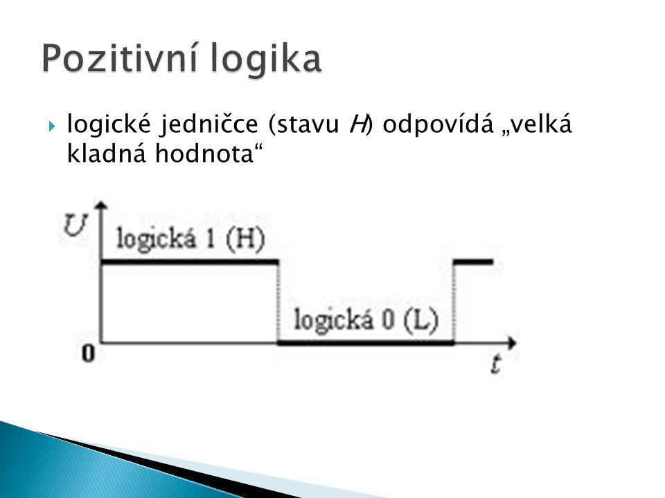 """ logické jedničce (stavu H) odpovídá """"velká kladná hodnota"""