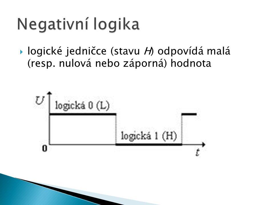  logické jedničce (stavu H) odpovídá malá (resp. nulová nebo záporná) hodnota