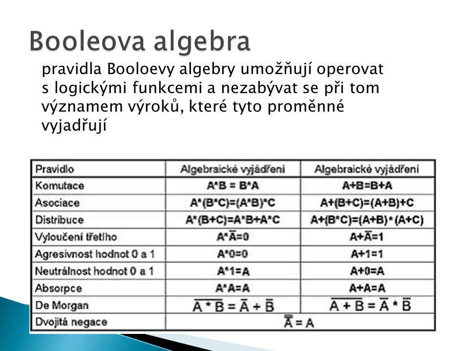 pravidla Booloevy algebry umožňují operovat s logickými funkcemi a nezabývat se při tom významem výroků, které tyto proměnné vyjadřují