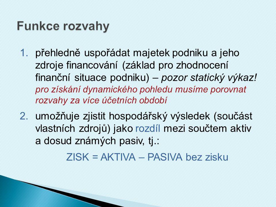 1.přehledně uspořádat majetek podniku a jeho zdroje financování (základ pro zhodnocení finanční situace podniku) – pozor statický výkaz.