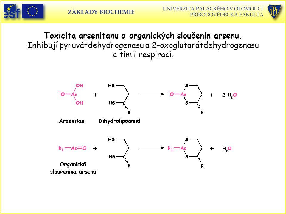 Toxicita arsenitanu a organických sloučenin arsenu. Inhibují pyruvátdehydrogenasu a 2-oxoglutarátdehydrogenasu a tím i respiraci.