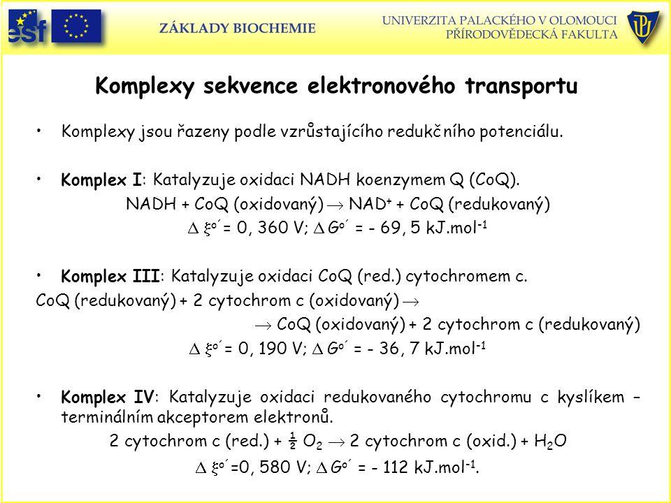 Komplexy sekvence elektronového transportu Komplexy jsou řazeny podle vzrůstajícího redukčního potenciálu. Komplex I: Katalyzuje oxidaci NADH koenzyme