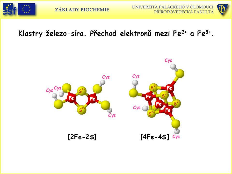 Klastry železo-síra. Přechod elektronů mezi Fe 2+ a Fe 3+.