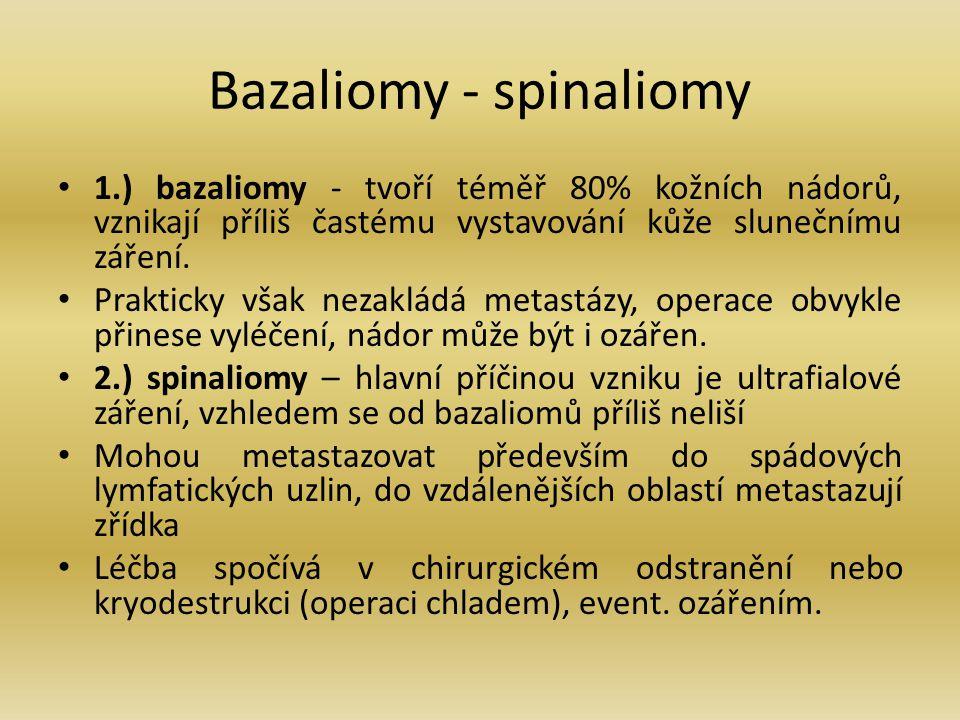 Bazaliomy - spinaliomy 1.) bazaliomy - tvoří téměř 80% kožních nádorů, vznikají příliš častému vystavování kůže slunečnímu záření. Prakticky však neza