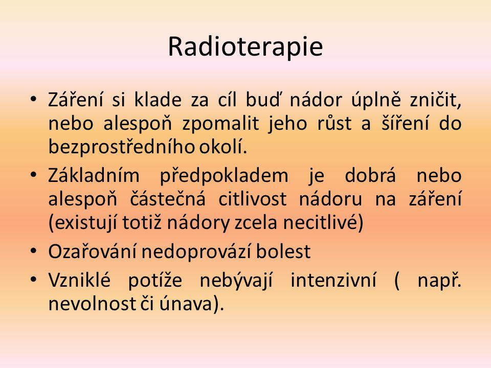 Radioterapie Záření si klade za cíl buď nádor úplně zničit, nebo alespoň zpomalit jeho růst a šíření do bezprostředního okolí. Základním předpokladem