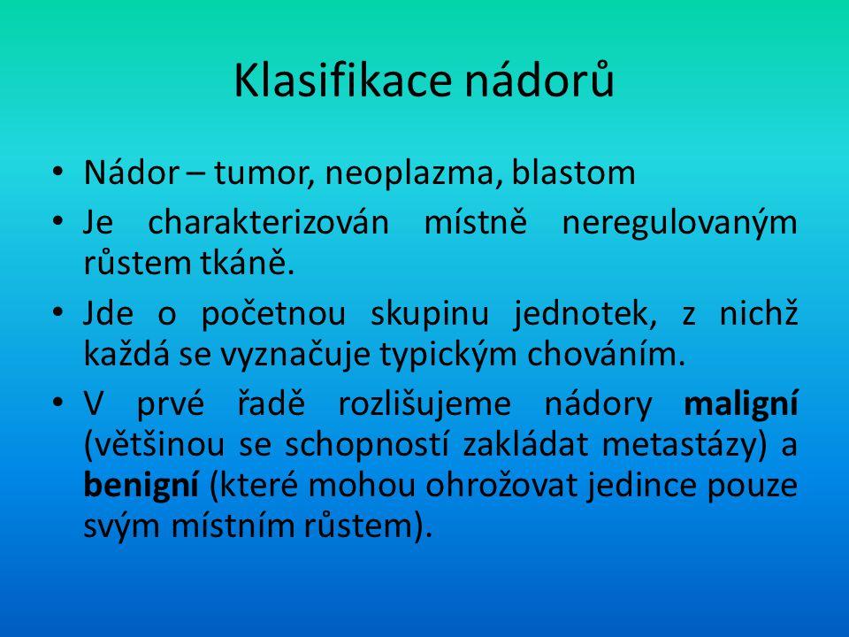 Klasifikace nádorů Nádor – tumor, neoplazma, blastom Je charakterizován místně neregulovaným růstem tkáně. Jde o početnou skupinu jednotek, z nichž ka