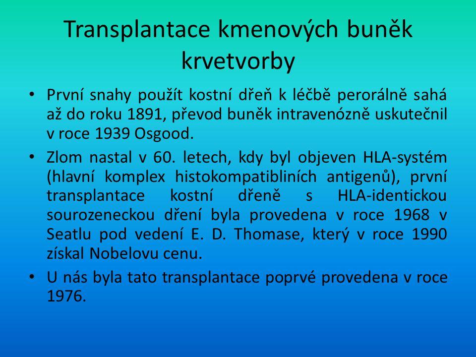 Transplantace kmenových buněk krvetvorby První snahy použít kostní dřeň k léčbě perorálně sahá až do roku 1891, převod buněk intravenózně uskutečnil v