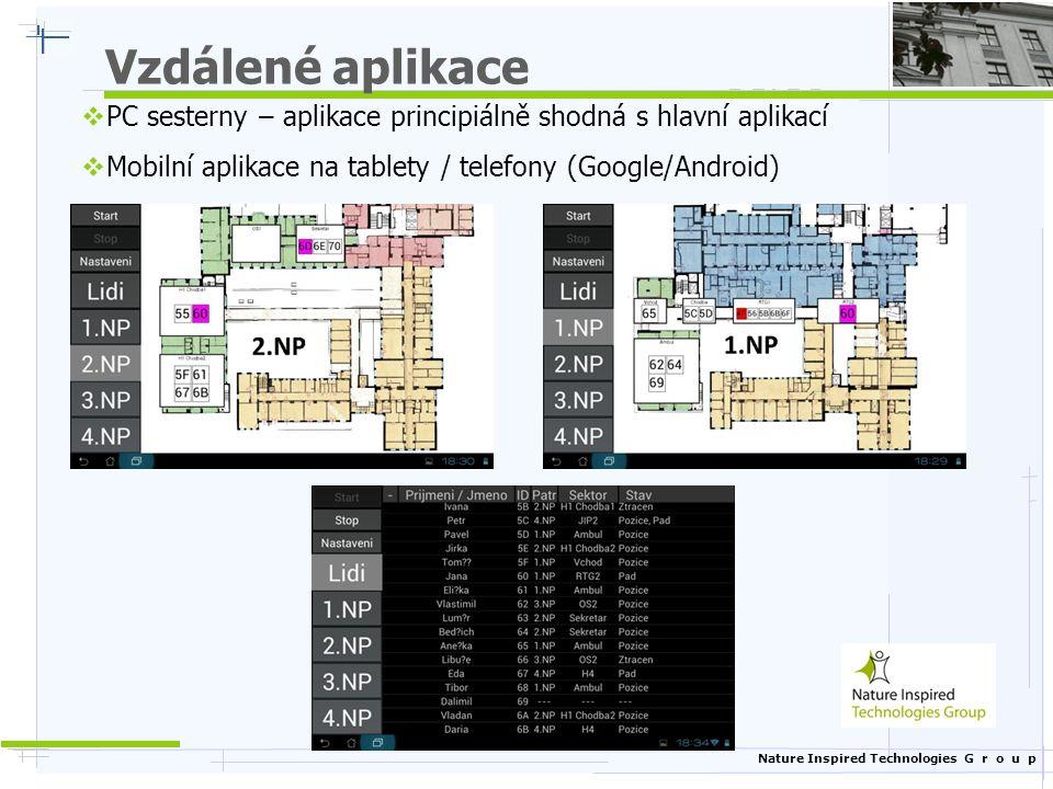 Nature Inspired Technologies G r o u p Vzdálené aplikace  PC sesterny – aplikace principiálně shodná s hlavní aplikací  Mobilní aplikace na tablety