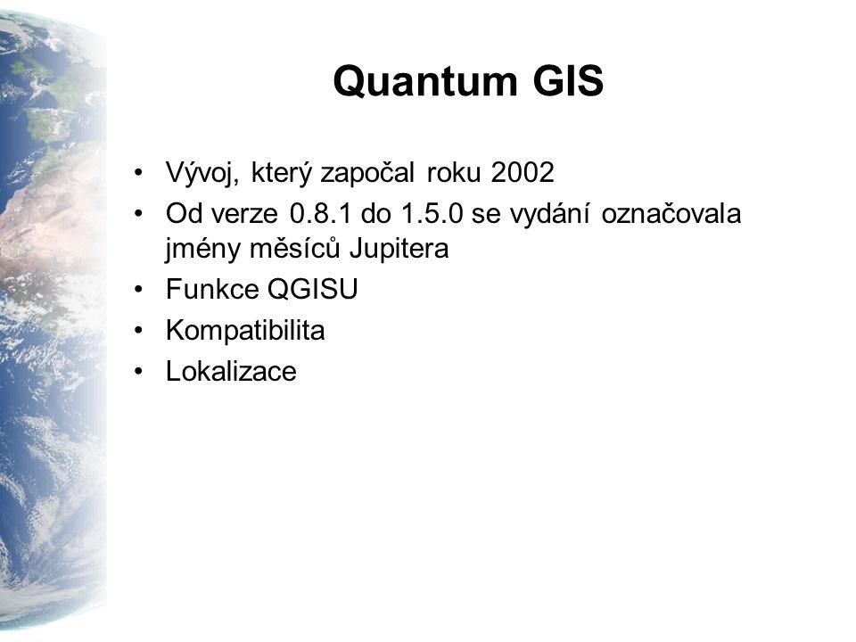 Quantum GIS Vývoj, který započal roku 2002 Od verze 0.8.1 do 1.5.0 se vydání označovala jmény měsíců Jupitera Funkce QGISU Kompatibilita Lokalizace
