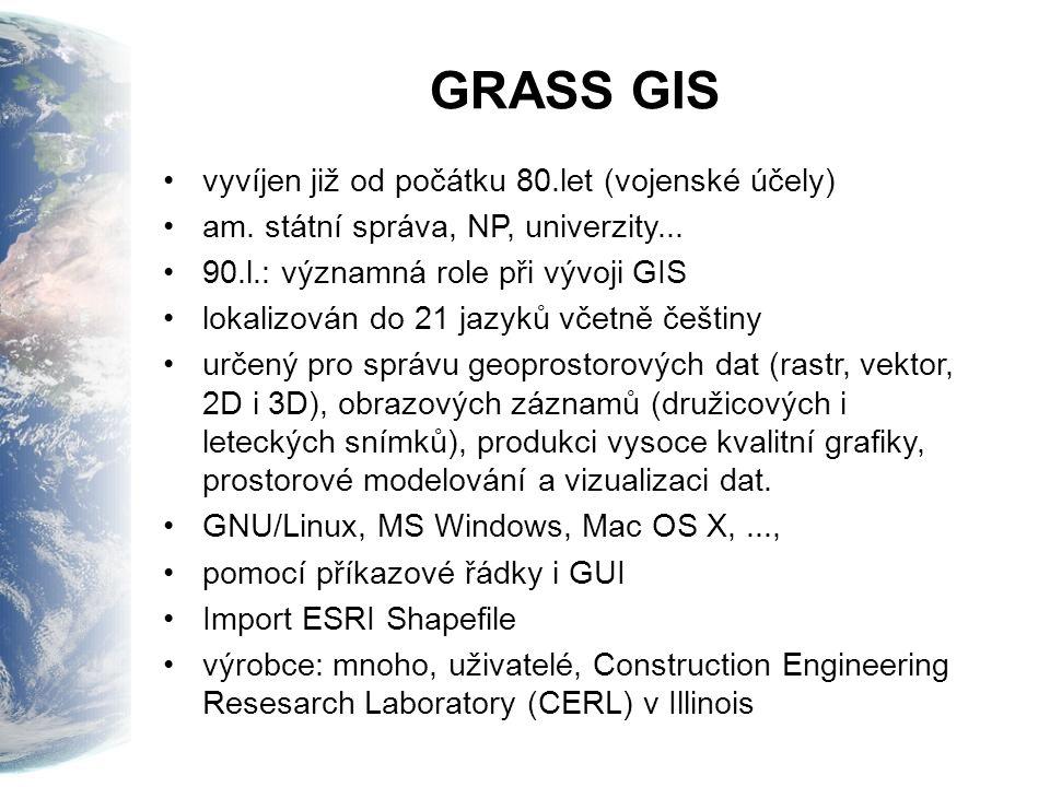 GRASS GIS vyvíjen již od počátku 80.let (vojenské účely) am. státní správa, NP, univerzity... 90.l.: významná role při vývoji GIS lokalizován do 21 ja