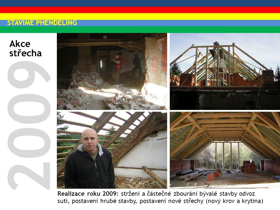 Akce střecha 2009 Realizace roku 2009: stržení a částečné zbourání bývalé stavby odvoz suti, postavení hrubé stavby, postavení nové střechy (nový krov