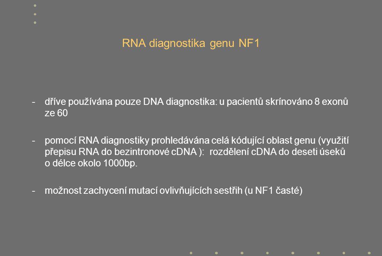 RNA diagnostika genu NF1 - dříve používána pouze DNA diagnostika: u pacientů skrínováno 8 exonů ze 60 - pomocí RNA diagnostiky prohledávána celá kóduj