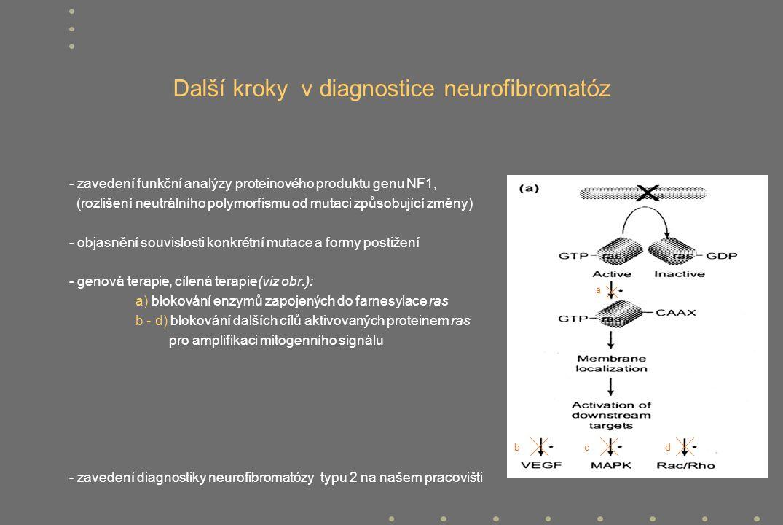 Další kroky v diagnostice neurofibromatóz - zavedení funkční analýzy proteinového produktu genu NF1, (rozlišení neutrálního polymorfismu od mutaci způ