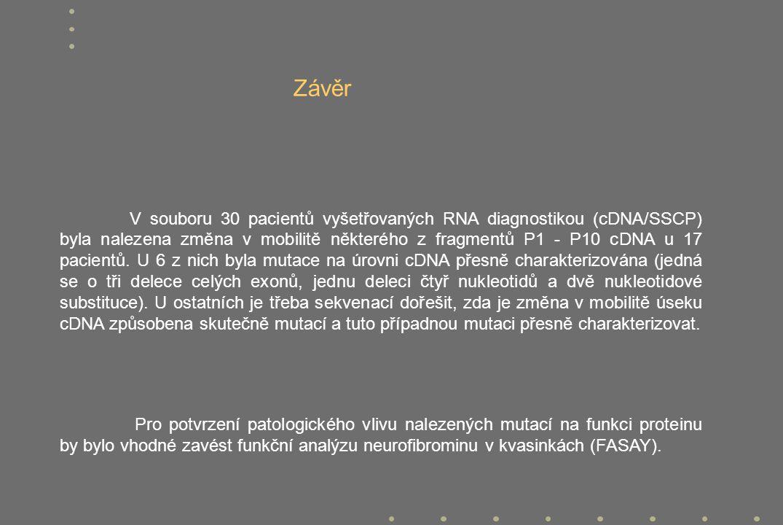 V souboru 30 pacientů vyšetřovaných RNA diagnostikou (cDNA/SSCP) byla nalezena změna v mobilitě některého z fragmentů P1 - P10 cDNA u 17 pacientů. U 6