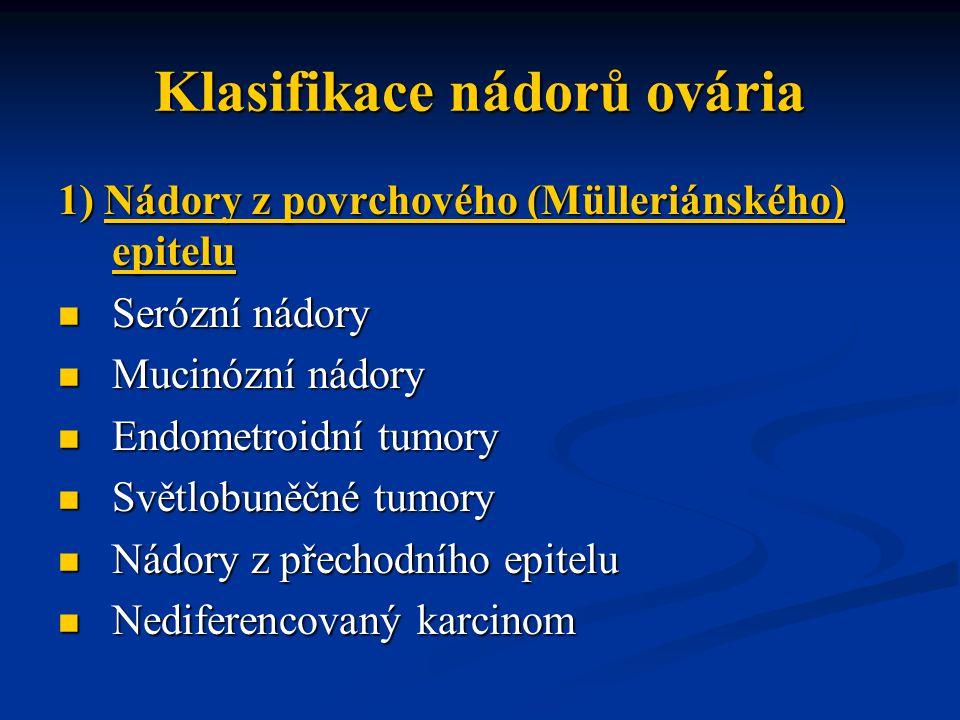 Klasifikace nádorů ovária 1) Nádory z povrchového (Mülleriánského) epitelu Serózní nádory Serózní nádory Mucinózní nádory Mucinózní nádory Endometroid