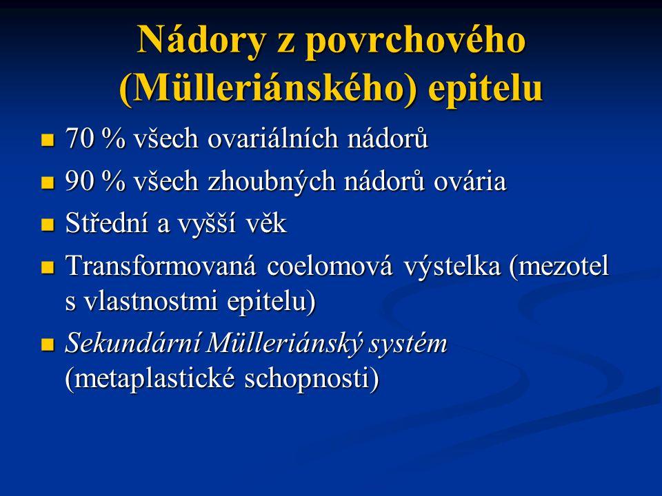 Nádory z povrchového (Mülleriánského) epitelu 70 % všech ovariálních nádorů 70 % všech ovariálních nádorů 90 % všech zhoubných nádorů ovária 90 % všec