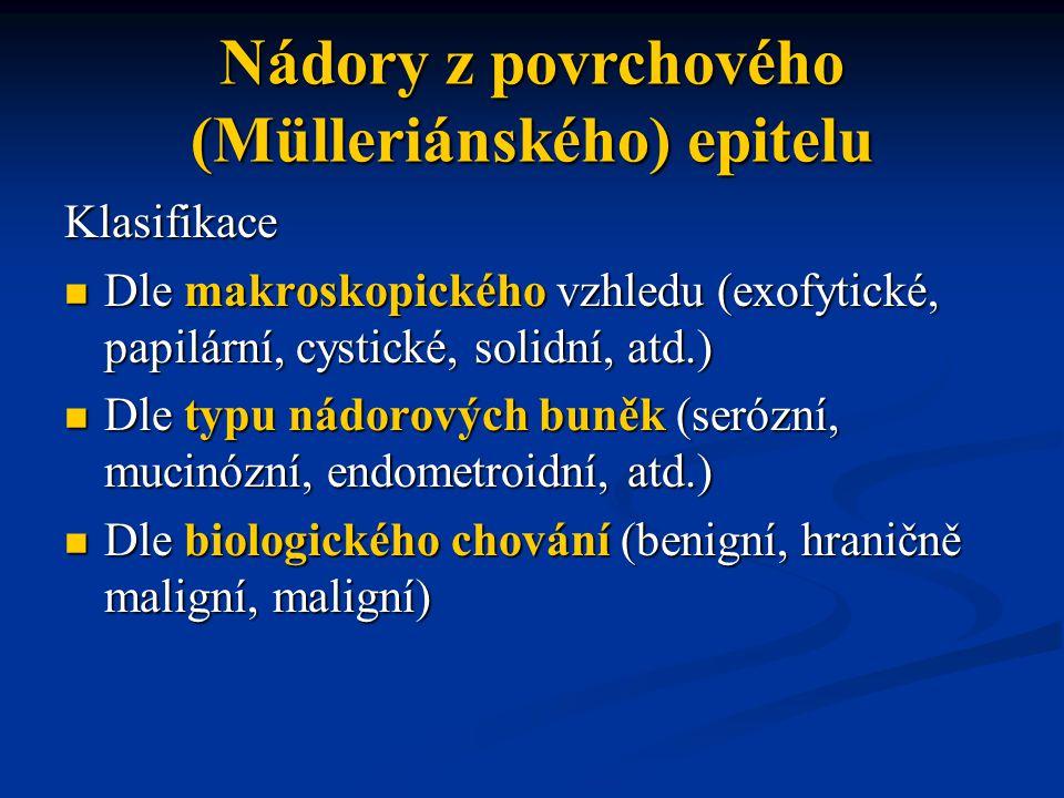Klasifikace Dle makroskopického vzhledu (exofytické, papilární, cystické, solidní, atd.) Dle makroskopického vzhledu (exofytické, papilární, cystické,