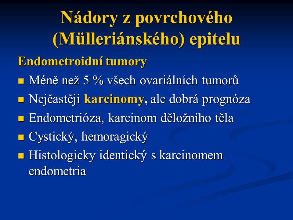 Endometroidní tumory Méně než 5 % všech ovariálních tumorů Méně než 5 % všech ovariálních tumorů Nejčastěji karcinomy, ale dobrá prognóza Nejčastěji k