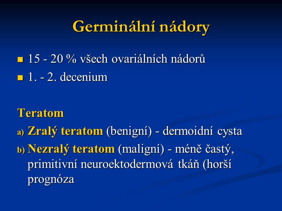 Germinální nádory 15 - 20 % všech ovariálních nádorů 15 - 20 % všech ovariálních nádorů 1. - 2. decenium 1. - 2. deceniumTeratom a) Zralý teratom (ben