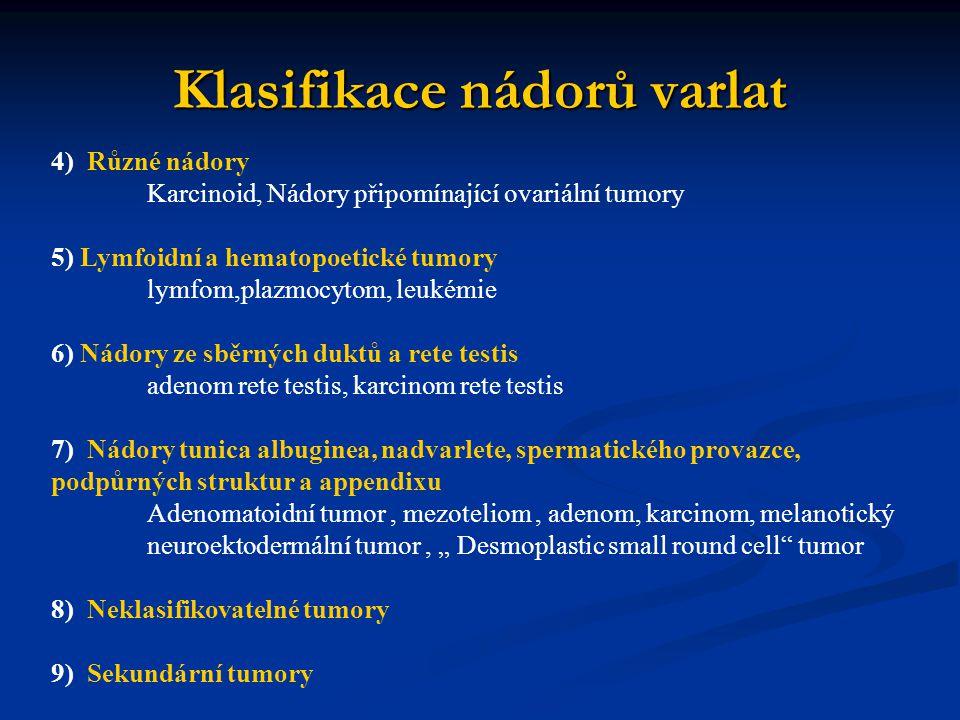 Klasifikace nádorů varlat 4) Různé nádory Karcinoid, Nádory připomínající ovariální tumory 5) Lymfoidní a hematopoetické tumory lymfom,plazmocytom, le