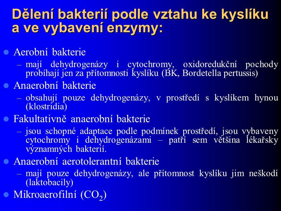 Dělení bakterií podle vztahu ke kyslíku a ve vybavení enzymy: Aerobní bakterie – mají dehydrogenázy i cytochromy, oxidoredukční pochody probíhají jen za přítomnosti kyslíku (BK, Bordetella pertussis) Anaerobní bakterie – obsahují pouze dehydrogenázy, v prostředí s kyslíkem hynou (klostridia) Fakultativně anaerobní bakterie – jsou schopné adaptace podle podmínek prostředí, jsou vybaveny cytochromy i dehydrogenázami – patří sem většina lékařsky významných bakterií.