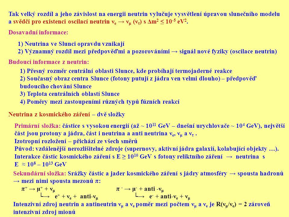 Tak velký rozdíl a jeho závislost na energii neutrin vylučuje vysvětlení úpravou slunečního modelu a svědčí pro existenci oscilací neutrin ν e → ν μ (ν τ ) s Δm 2 ≤ 10 -5 eV 2.