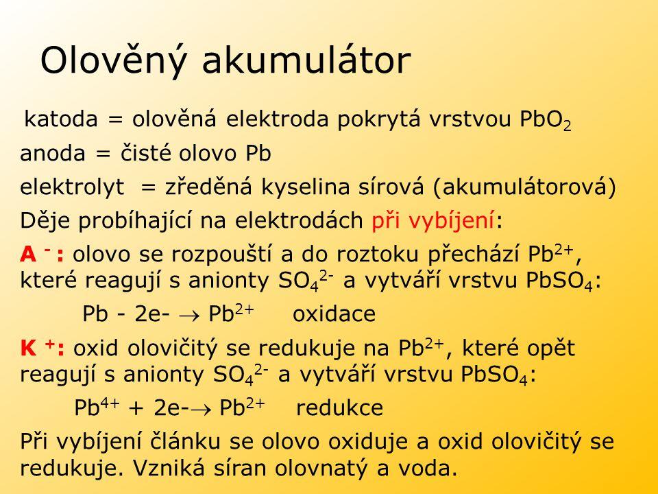 Olověný akumulátor katoda = olověná elektroda pokrytá vrstvou PbO 2 anoda = čisté olovo Pb elektrolyt = zředěná kyselina sírová (akumulátorová) Děje p